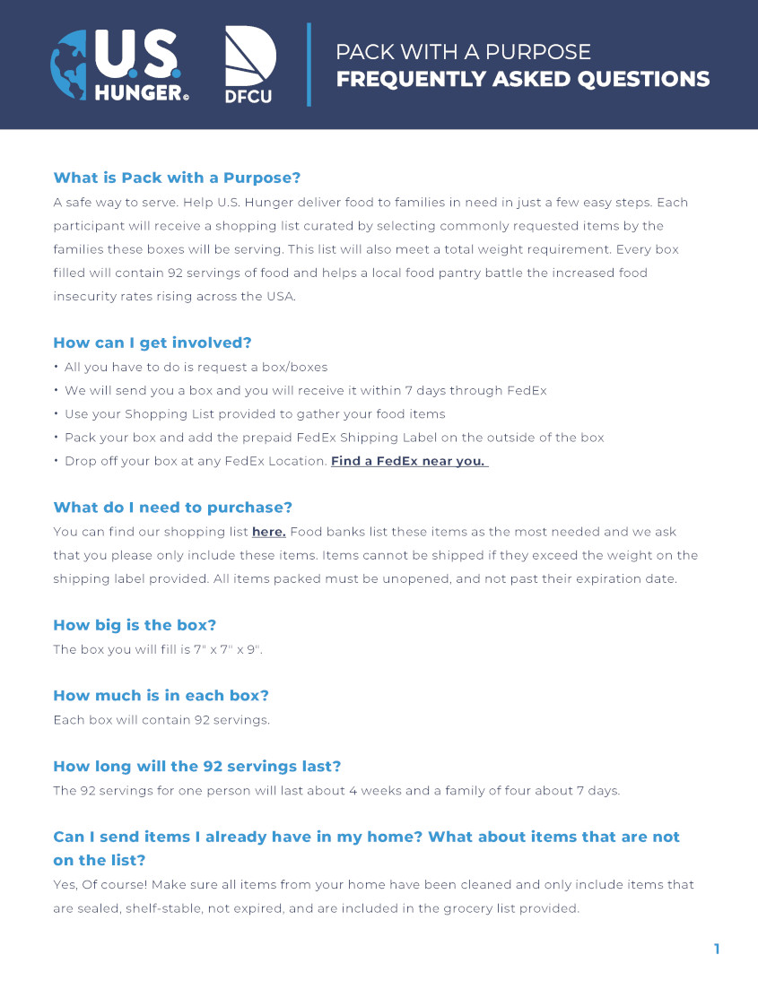 Food Packaging FAQ - Page 1
